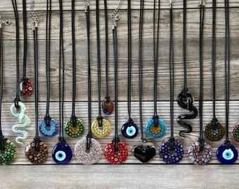 Handmade Italian Murano Millefiori Flower Black Corded Necklace-Large Pendants 16mm~55mm Black Corded Necklace, Snakes, Drop, Evil Eye, Disc
