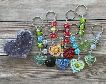 Handmade Millefiori Murano Heart Key Chains, Large Mixed Color Hearts, Beautiful Large Keychain with Millefiori Beads and Murano Glass