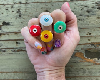 Evil Eye Enameled Rings Size 8 in Cute Red, Green, White and Yellow Round Enamel Evil Eyes, Colorful Evil Eye Trendy Ring