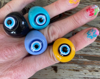 Evil Eye Lucite Ring Size 8 in Yellow, Purple, Blue and Black Chunky Round Trending Evil Eyes Ring Colorful Large Band