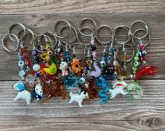 Handmade Millefiori Murano Key Chains, Mixed Animals Available with Evil Eyes and Flowers, Animal Key Chain, Spirit Animal, Chinese Zodiac