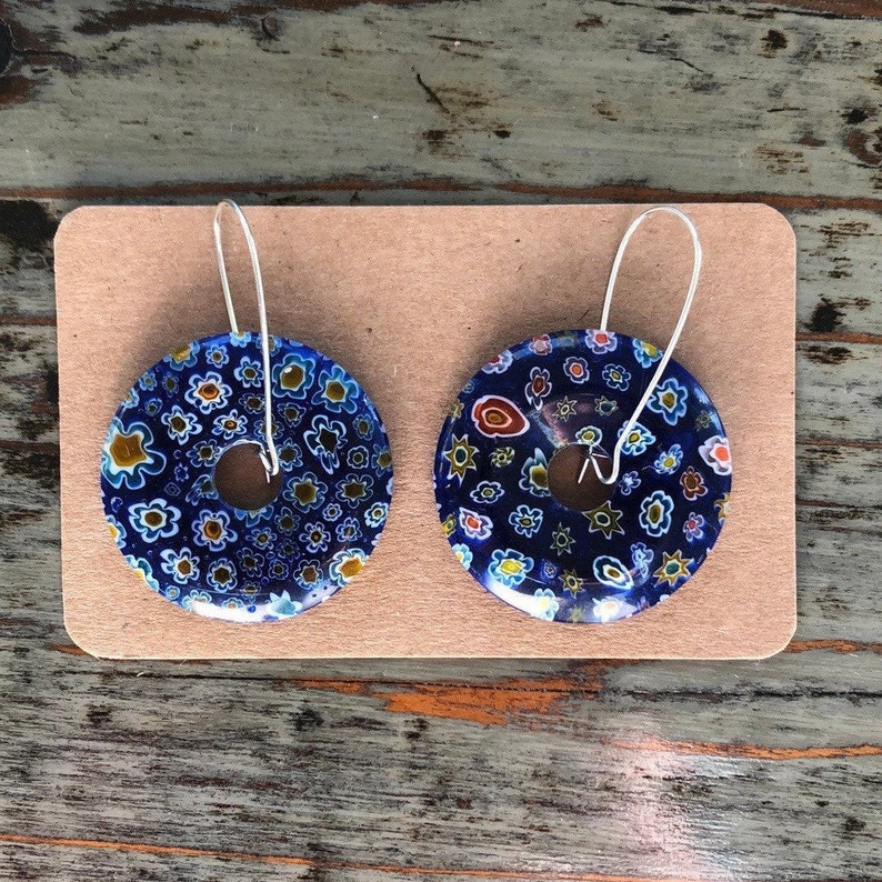 DonutPi Disc Millefiori Glass Pendants Mixed Color 34~39x5~6mm on Large Silver Drop Earrings