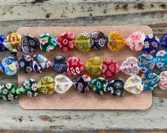 Handmade Italian Murano Millefiori Thousand Flowers Glass Bead Strands, Multicolor Large Hearts Strand, Mixed Color Heart Lampwork 12mm