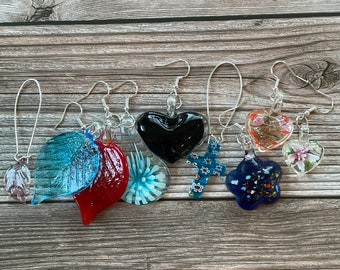 Colorful Murano Glass Large Earrings, Millefiori Drop Earring Leaves, Hearts and Flowers. Beautiful Handmade Murano Italian Glass