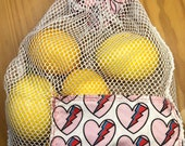 Produce Bag - David Bowie heart 100 cotton, handmade, washable, reusable, folds into it s own pocket, rock and roll