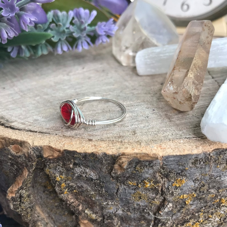 Simple Rings Gemstone Rings Ruby Ring Boho Rings Hippie Rings Wire Wrapped Ring Wire Rings Moonstone Rings Crystal Ring