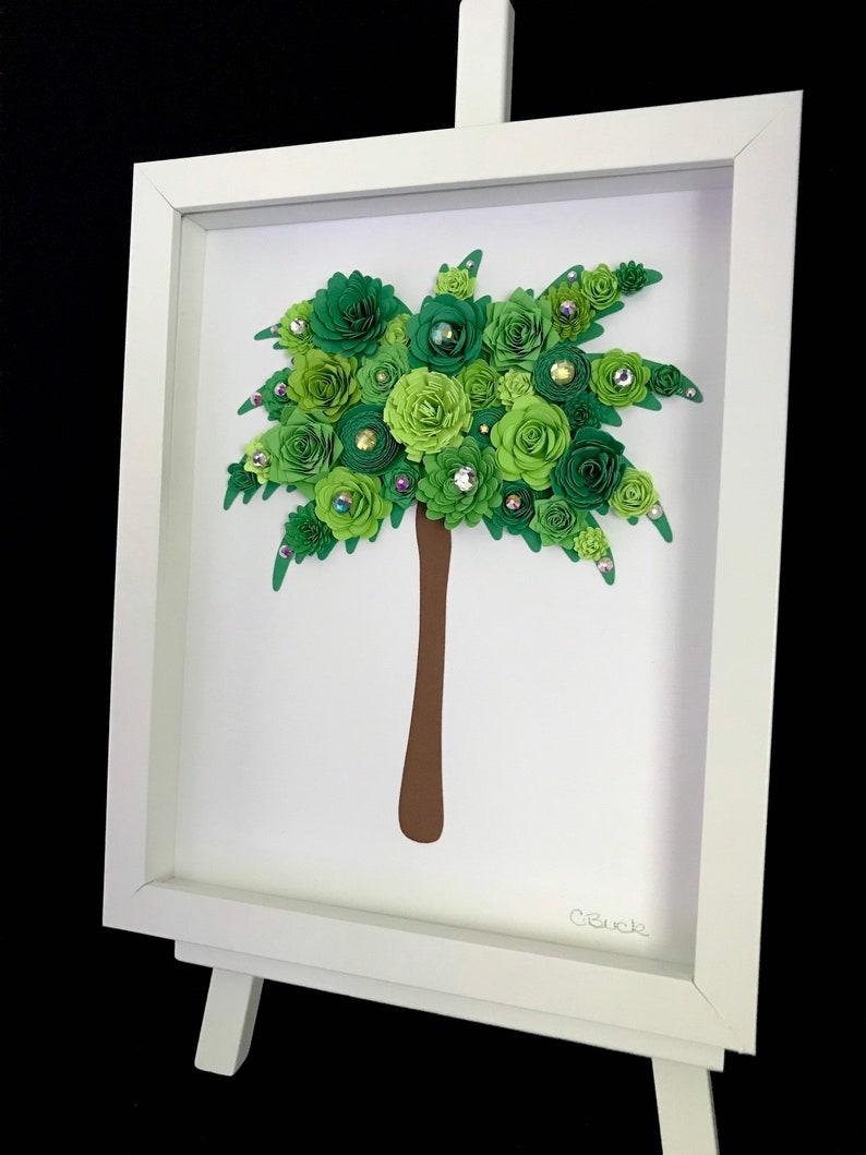 Wall Art 8\u201d x 10\u201d Paper Flower Palm Tree Shadow Box