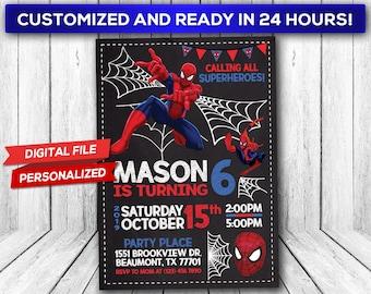 Spiderman Invitation Party Printable Invite Birthday
