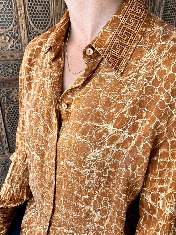 Vintage Silk Animal Print Blouse