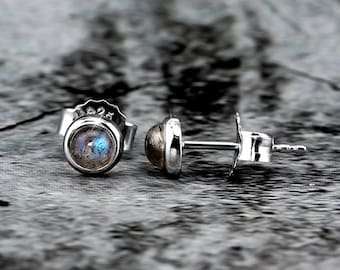 Silvershake 4MM - 8MM Natural Round Labradorite White Gold Plated 925 Sterling Silver Stud Post Earrings