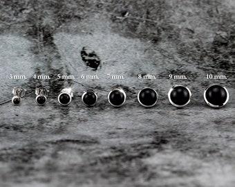 Silvershake 3MM - 10MM Genuine Round Shape Black Onyx White Gold Plated 925 Sterling Silver Stud Post Earrings