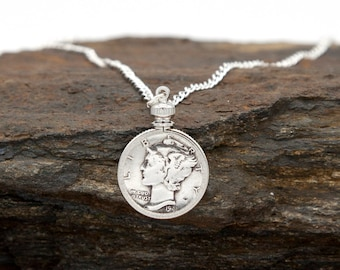40th Custom Date Penny Necklace in Bezel Anniversary 30th 35th 70th 80th 75th 65th 25th 85th Birthday 50th 60th 45th 55th