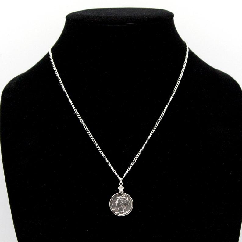 65th 80th 40th Custom Date Dime Necklace - 25th 60th 85th 55th 30th in bezel 35th 75th 50th 45th 70th