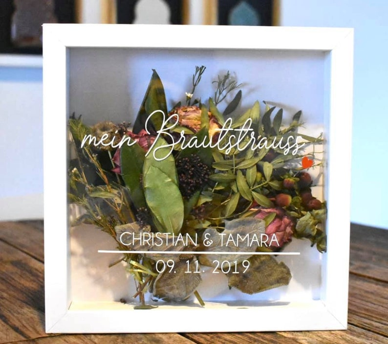 *Personalized* Background Selectable *Great Gift Idea*Forever many fonts available Your bridal bouquet in the frame