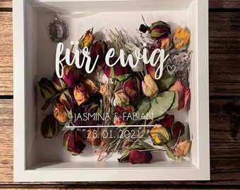 Forever.... Picture frame for the bridal bouquet, great gift idea memorabid, wedding gift, custom font/design possible.