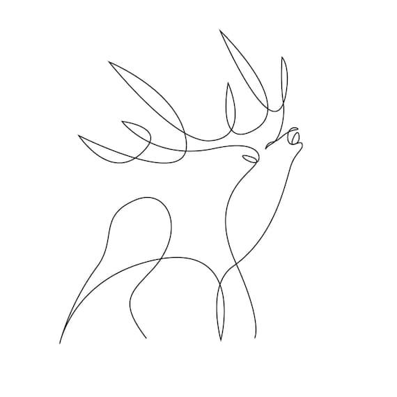 One Line Art Deer One Line Art One Line Drawing Wall Art Etsy