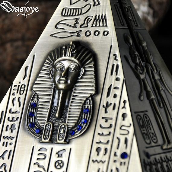 Antique Egypt Pyramid Piggy Bank Saving Pot Office Ornaments Crafts Bronze