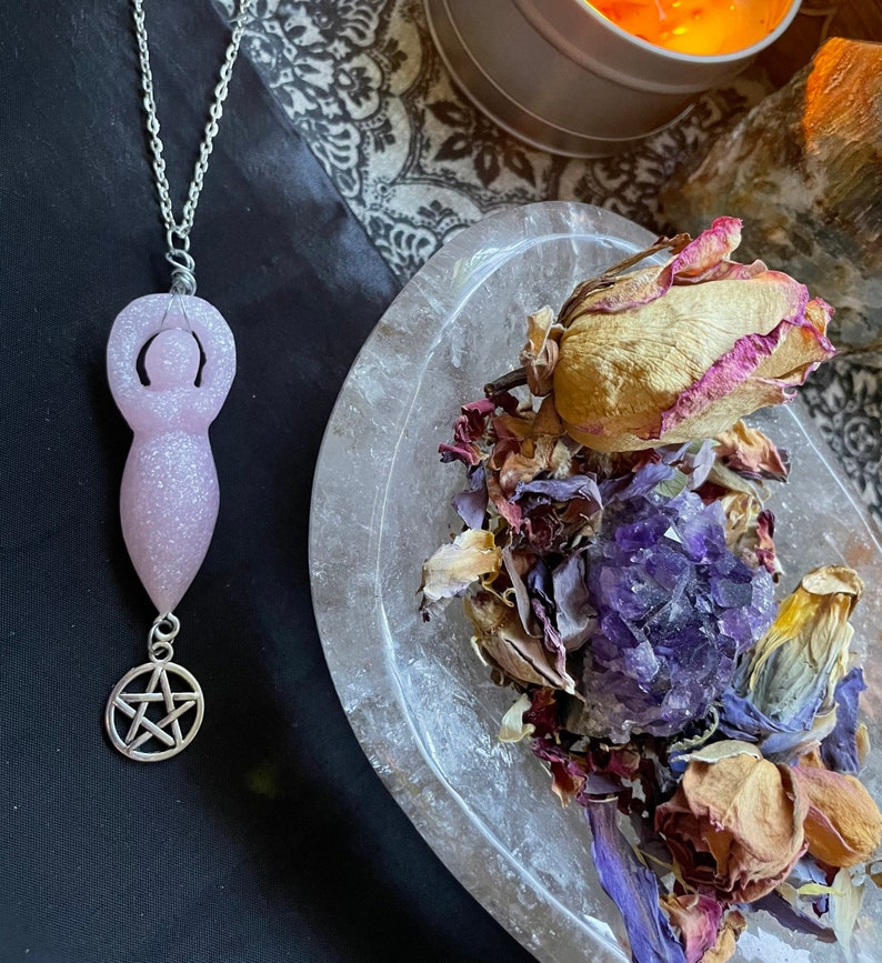 Resin love spell goddess necklace with silver pentagram Romance and attraction spell added on from high priestess Audra Witch aesthetic.