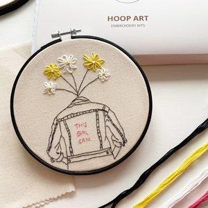 Leaf Female Embroidery Cushion Kit  DIY  Modern Hand Embroidery   Feminist Embroidery Kit  Velvet Embroidery Pillow  Stitching Gift