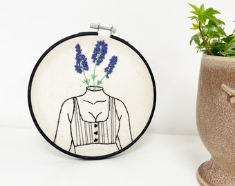 Lavender Female / Feminist Hoop Art / Embroidery Kit / Learn To Embroider / Female Gift / Stitching Gift / Modern Embroidery