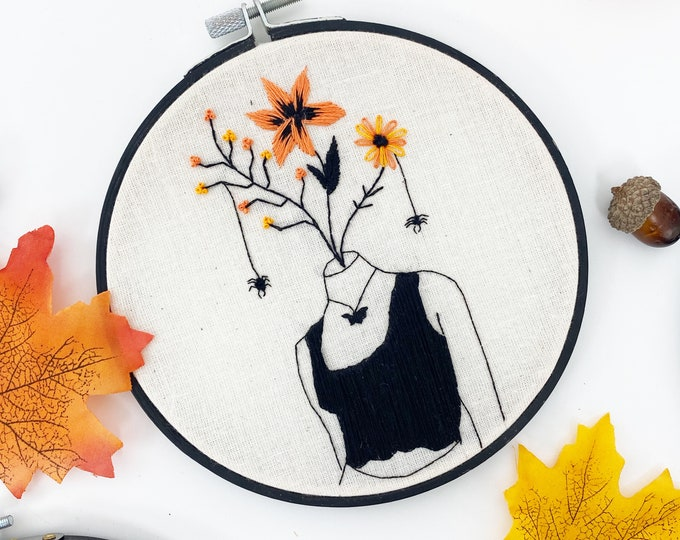 Autumn Halloween / Feminist Hoop Art / Embroidery Kit / DIY embroidery / Female Gift / Stitching Gift / Modern Embroidery / Fall Decor