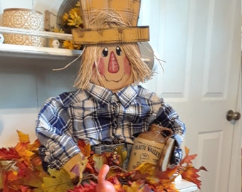 2 Pack Small Standing with Flower Fall Harvest Scarecrow Decor Halloween Scarecrow Decoration Noblik Scarecrow Fall Decor
