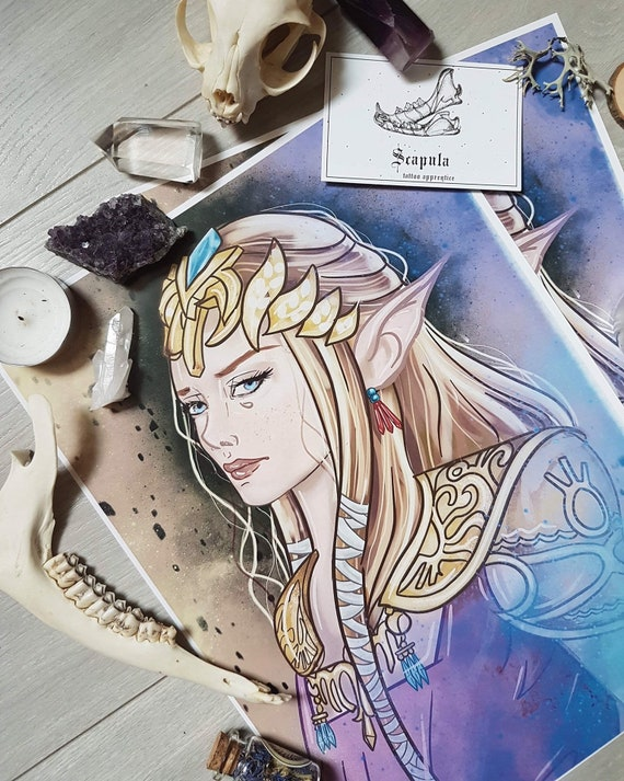 Princess Zelda Twilight Princess Art Print Tattoo Poster Deco