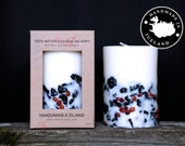 Icelandic Soy Wax Candle with Iceland Rowan berries and 2000 years old Lava stones. Handmade in Iceland.Husavik.Apple/cinnamon scent.
