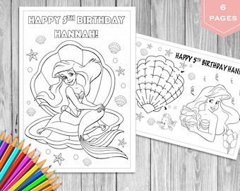 Disney Coloring Pages: Mermaid Birthday Party Coloring Pages | 270x340