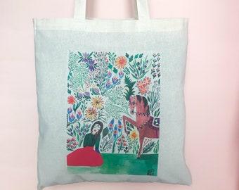 d94c18295f shopper bag in cotone naturale lavabile con disegno ad acquarello, shopper,  borsa, tote bag, borsa in cotone, shopping bag, borsa in tela