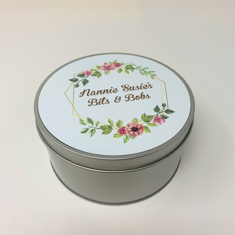 Personalised round tin for women nan mum gift idea grandma knick knack random items sewing tin bingo tin box metal bits and bobs