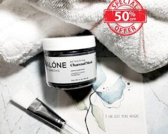 Rose Detoxifying Charcoal Acne Face Mask & Silicone Applicator Brush