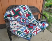 Beautiful Sampler Quilt with Flying Geese, Card Trick, 9 Patch, Churn Dash, Ohio Star, Windmill, Arrows, and Star blocks - 20 OFF Sale