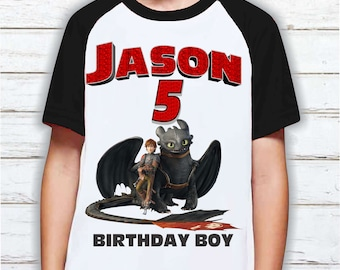 Personalised Birthday Name Age Kids T-Shirt How To Train Your Dragon Comics
