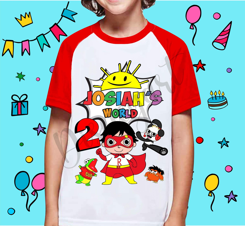 personalised Birthday kids t-shirt Any Age Any Name Gift sizes 4-14 boys+girls