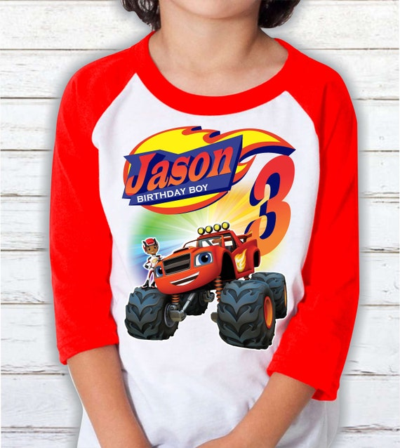 Blaze Shirt Personalized Name and Age Birthday Shirt