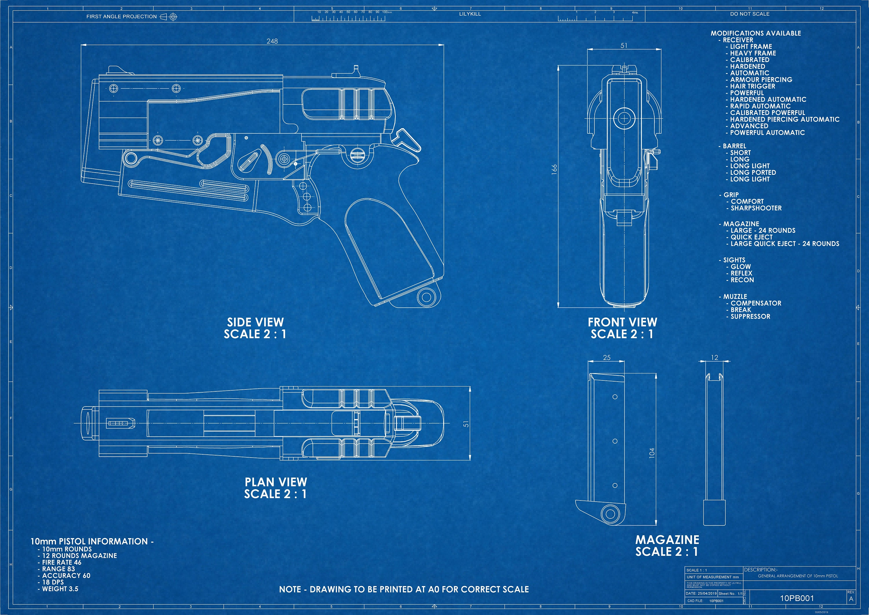Fallout 4 inspired 10mm Pistol Technical Blueprint on