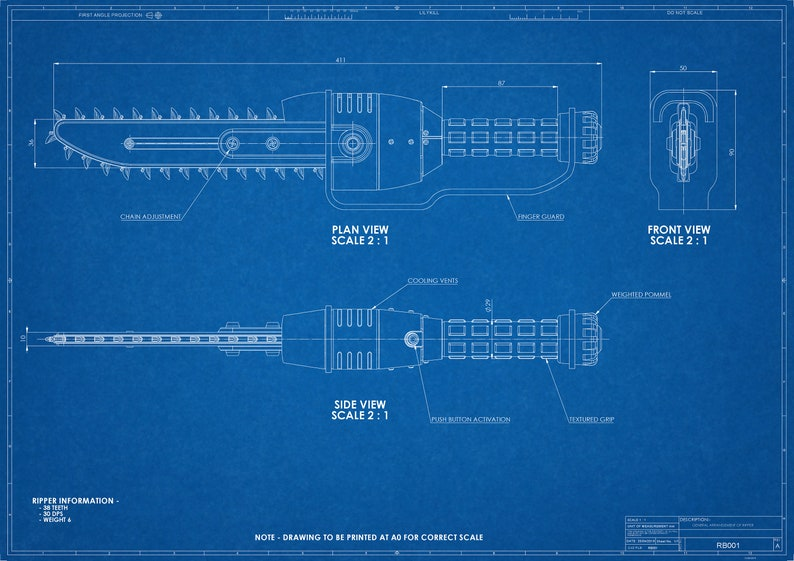 Fallout 3 inspired Ripper Blueprint Digital File on