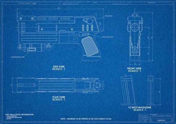 Fallout 3 inspired 10mm Pistol Blueprint Digital File on