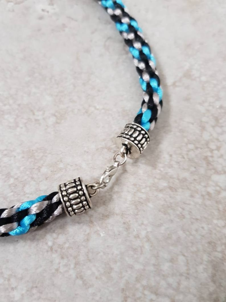Turquoise and Black Rope Necklace Chunky Choker