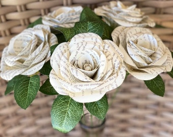 Paper flowers, book page flowers, wedding, shower gift, home decor, centerpiece, paper roses, book roses, book lover gift