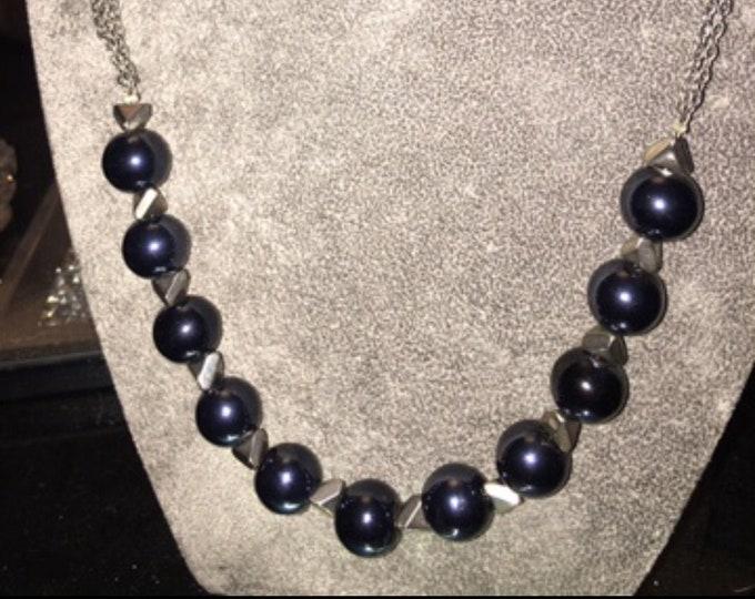 Black Bead and silver diamond beads