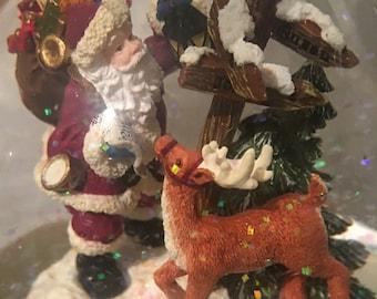 Musical Snow Globe Santa and Reindeer