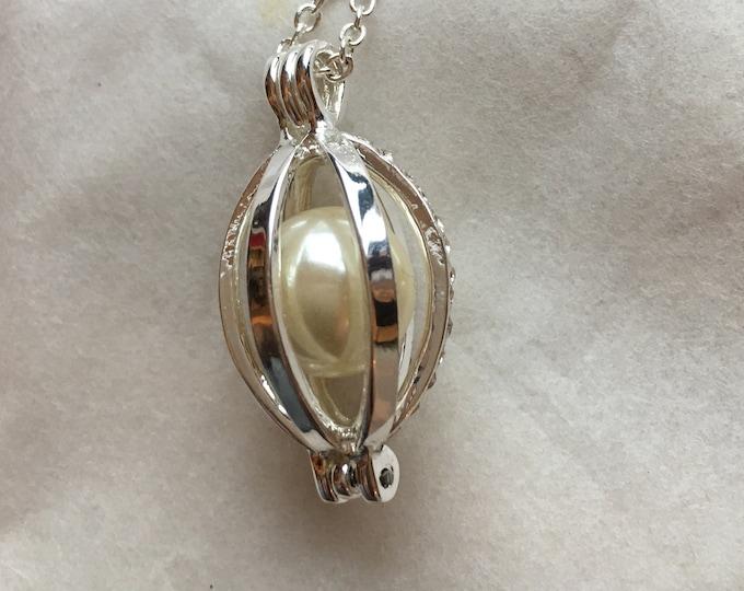 Silver Pearl in a Cage Pendant