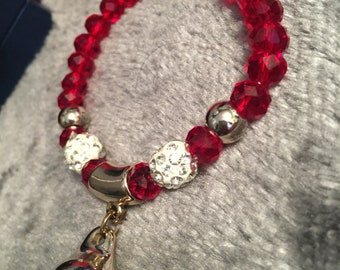 Red Glass Bead Bracelet with Pearl