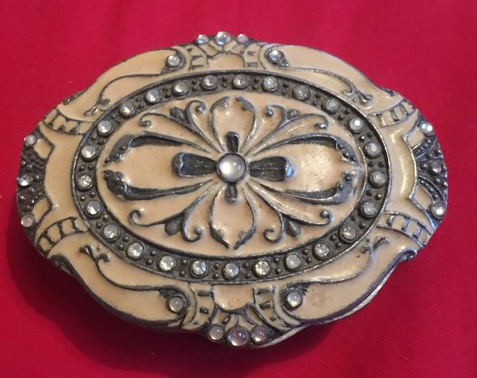 Oval Embossed Metal Ring Box