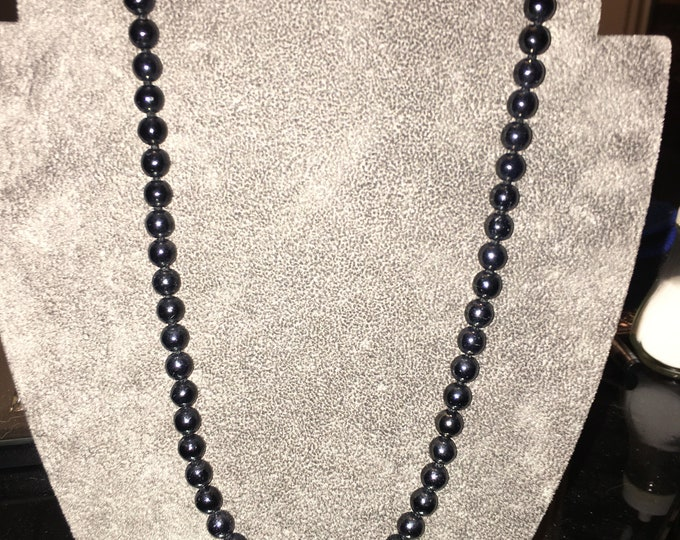 Black Bead Necklace with Gold Clasp