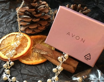 Avon Silver and Pearl Necklace and Earrings