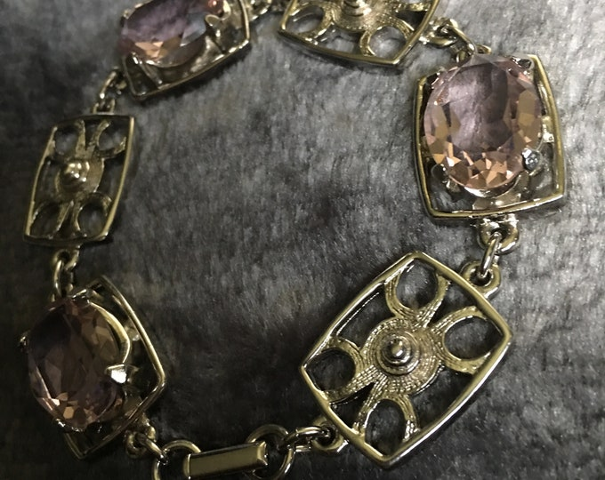 Featured listing image: Pink Cubic Zircona Silver Tone Bracelet