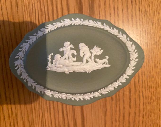 Wedgwood Jasperware Sage Green Oval Trinket Box